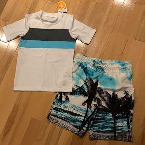 Boys swim trunks & rash guard (NWT) - size 7/8